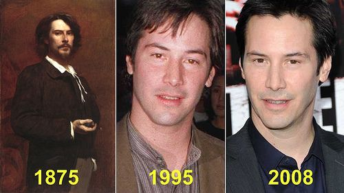 Keanu Reeves is apparently a vampire! The man in the portrait is Paul Mounet, French actor.