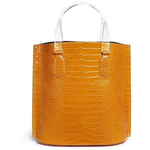 Trademark 'Aubock' mini croc embossed leather shopper tote ($850) ❤ liked on Polyvore featuring bags, handbags, tote bags, yellow, mini tote bags, orange tote, shopping tote bags, orange tote bag and yellow tote bag