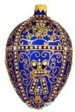Museum Collection Fabergé Silver Anniversary Egg Glass Ornament-Large