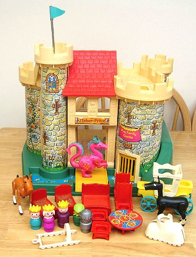 1974 Little People Castle. My Grandma had this complete set at her house when I was growing up. I can't even tell you how many hours I played with this as a little girl. If I could have one of these at my house for kids to play with when they come over I would be so stoked. Loads of fun.