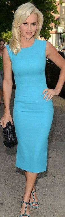 Who made Jenny McCarthy's blue dress and crystal sandals? Dress – Victoria Beckham Collection  Shoes – Miu Miu