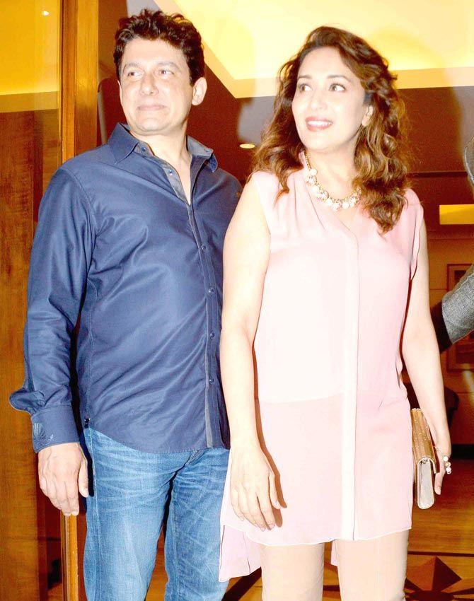 Madhuri Dixit Nene with her husband Sriram Nene at Manish Paul's birthday bash. #Bollywood #Fashion #Style #Beauty
