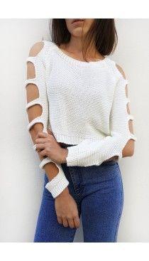 Λευκή πλεκτή μπλούζα με cut-outs