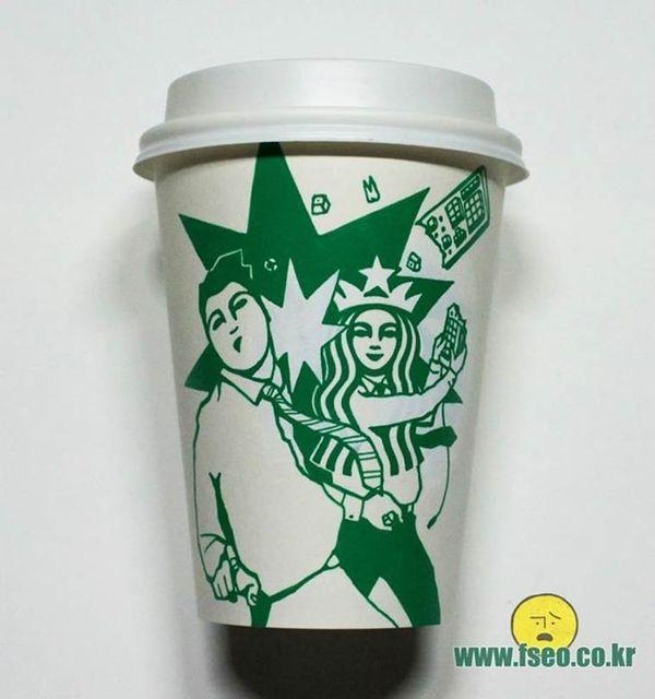 Starbucks Becher aufgepimpt von Soo Min Kim