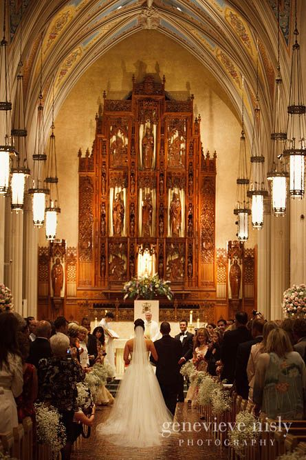 Wedding processional for a ceremony at St John's Cathedral downtown Cleveland - Genevieve Nisly Photography