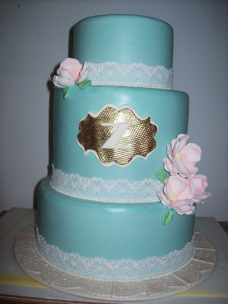 Tiffany Blue tinted buttercream with Lace Trim and Gold Monogram  www.weddingsbyholiday.com