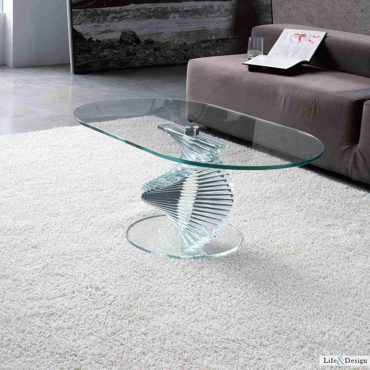 Unico Contemporary Rigiro Oval Glass Coffee Table In 2 Finish Options