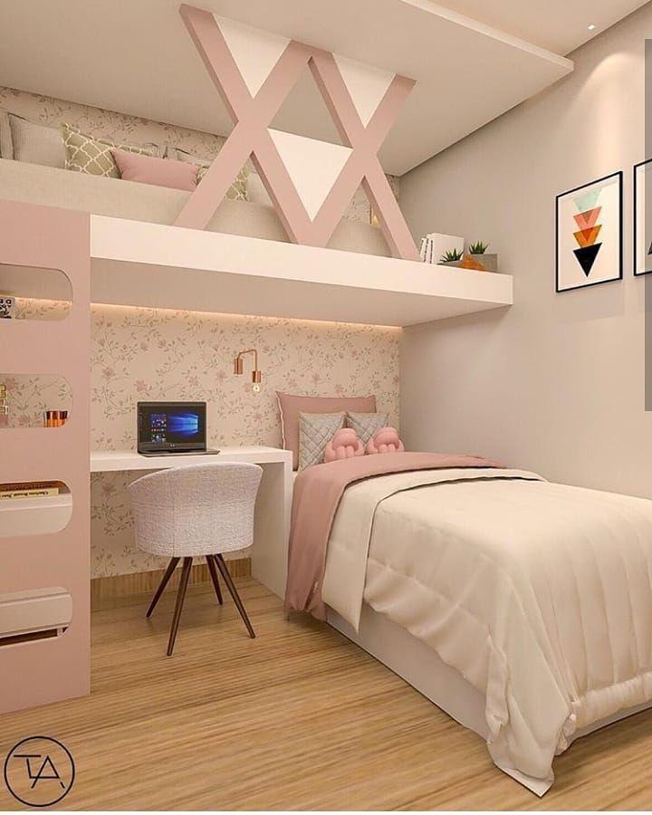Guten Abend! Schau dir dieses kleine Zimmer an. Frauenzimmer | Design inspiriert vom femininen Schlafzimmer mit Farben in Pink, Weiß und Beige. Also …