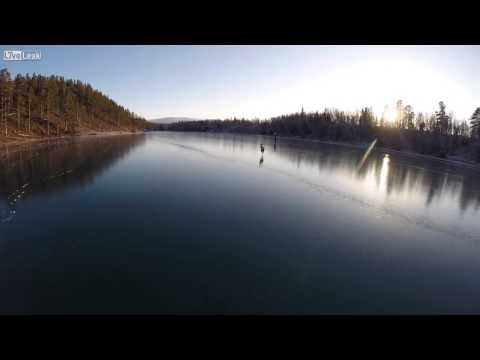 Ice Skating On A Crystal Clear Lake In Sweden - YouTube