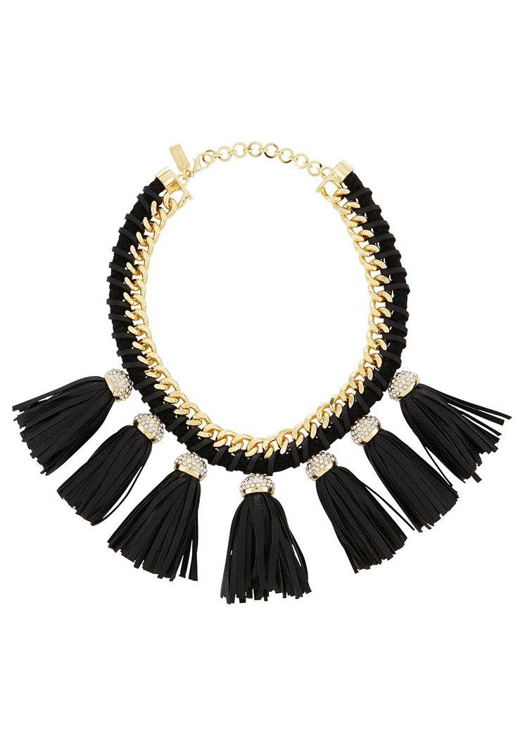 Lucinda Black & Gold Fringe Necklace