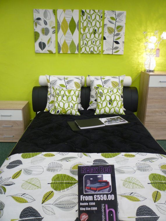 """Bed Runner Lime Green Gray Funky Retro Floral Over 6ft (2mts long-78"""")Double on Etsy, £24.55"""