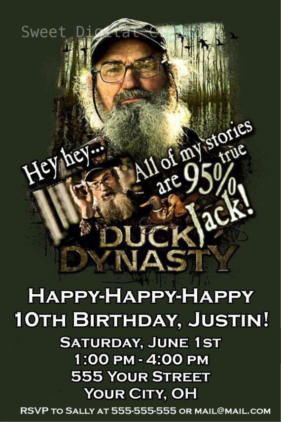 duck dynasty party invitations | Duck Dynasty Invitation, Birthday Party Invitation