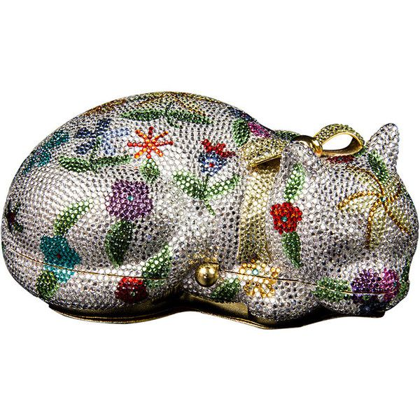 Judith Leiber Swarovski Crystals Sleeping Kitty Cat Minaudière Brand... (7.330 BRL) ❤ liked on Polyvore featuring bags, evening bags and minaudières, handbags and purses, clear bags, leather coin pouch, evening bags, leather evening bag and cat coin purse