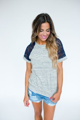 Grey/Navy Crochet Sleeve Top - Dottie Couture Boutique