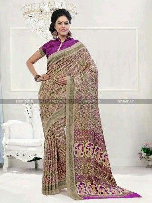 Beige N Purple Pashmina Casual Printed Saree