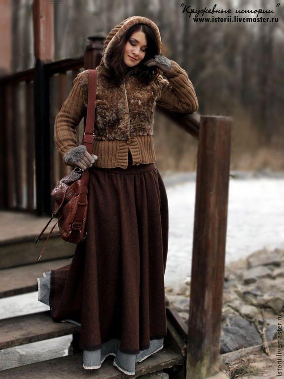 Купить Длинная, пышная юбочка из твида - коричневый, твид, шоколадный цвет, шоколадный, шоколадная юбка