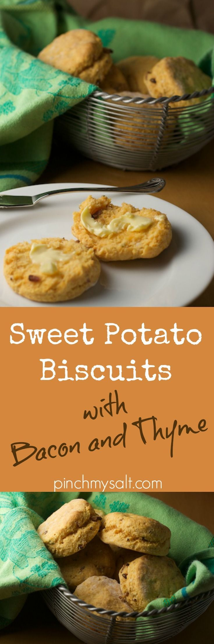 Easy sweet potato biscuits with bacon and thyme recipe made with Bisquick. These delicious semi-homemade biscuits are slightly sweet and the savory flavors of bacon and thyme turn these into something you'd never guess came from a box mix! from pinchmysalt.com