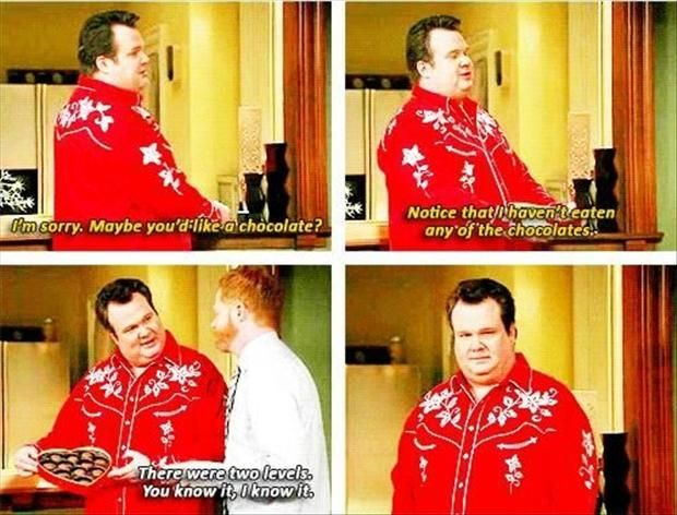 """There were two levels. You know it and I know it."" Modern Family... Lol! This is something I would do"