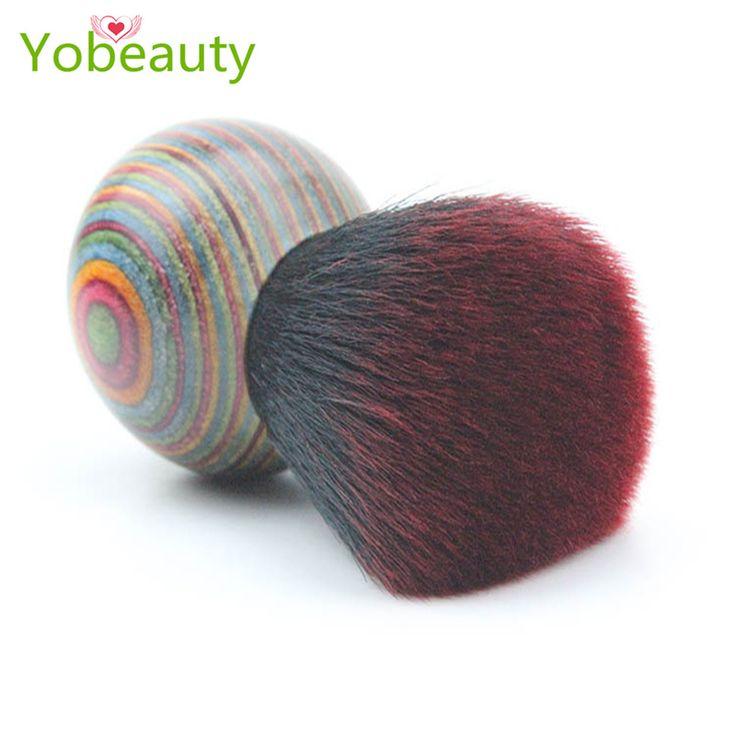 High-end pincel para base di legno colorato stile folk trucco blush brush bellezza make uptools spazzola maquillage pincel maquiagem