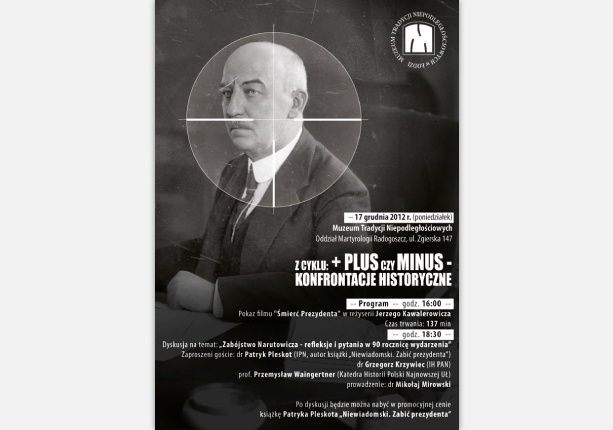 "poster design made ​​for Independence Traditions Museum in Lodz - ""Murder Narutowicz - reflections and questions in the 90th anniversary event"""