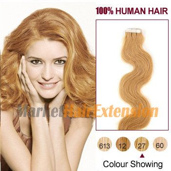 Wavy Tape In Human Hair Extensions Strawberry Blonde(#27)
