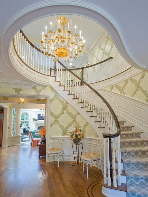17 best ideas about foyer staircase on pinterest beach for Furniture for curved wall in foyer