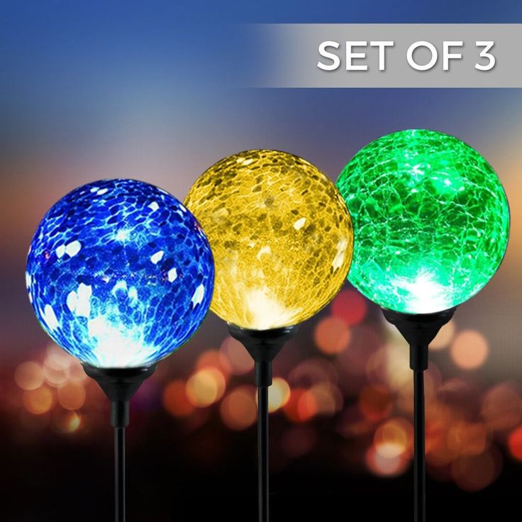 LED Solar Powered Crackle Glass Ball Stake Set 3 Garden Outdoor Lawn Yard Decor #Spectrum #Contemporary