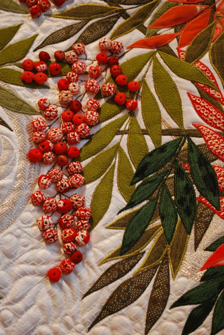Detail, Celebration of Japan 'Nandin' by Mihoko Tanaka applique quilt