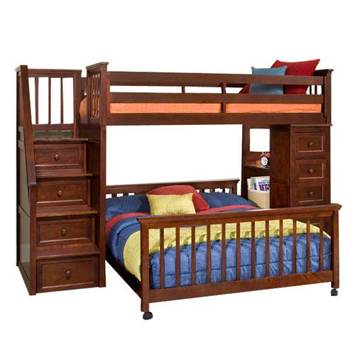 school house cherry twin stair loft with desk end and twin lower bed - Etagenbett Couch Lego Film