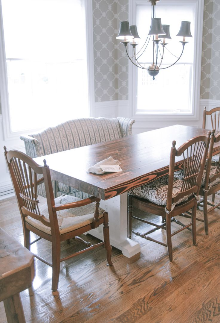 Butcher Block Style Farmhouse Table Solid Wood Top And