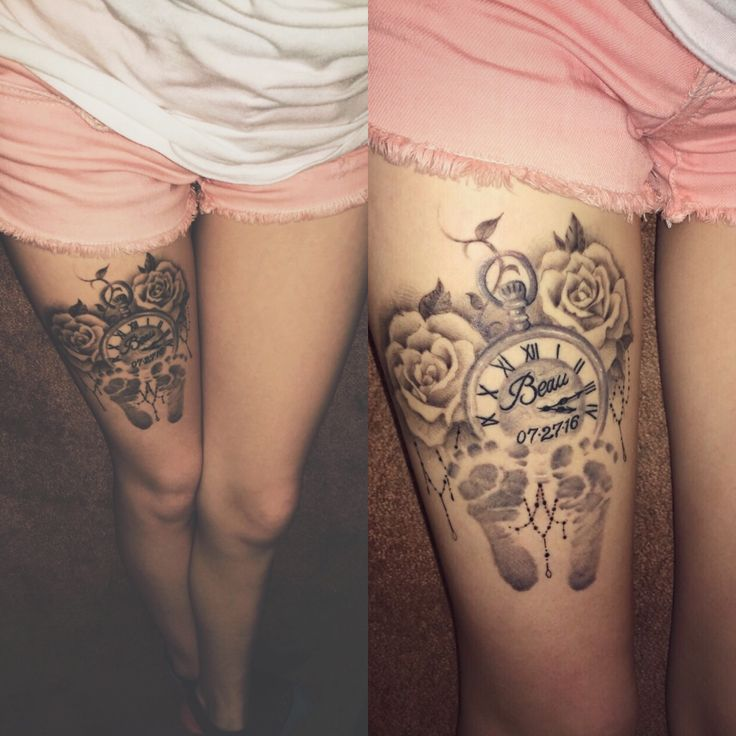 Roses, pocket-watch and baby footprints tattoo #shoulder_tattoo_clock