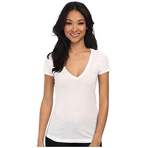 (スリードッツ) Three Dots レディース トップス 半袖シャツ Jersey Colette S/S Deep V-Neck 並行輸入品  新品【取り寄せ商品のため、お届けまでに2週間前後かかります。】 カラー:White カラー:ホワイト