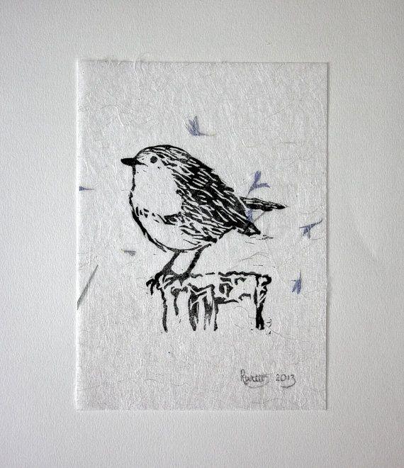 Linocut Bird Print. Block Printed Wall Art. Robin Print. Lino Print On Handmade Paper. Printmaking