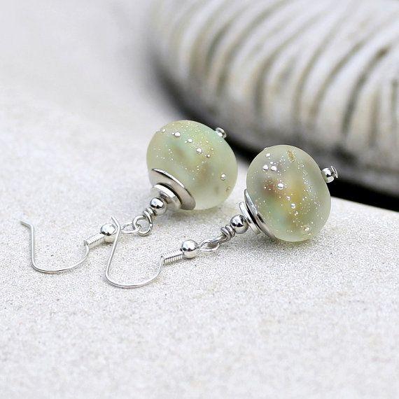 Frosted Lemon and Silver Dangle Earrings, Handmade Glass, Lampwork