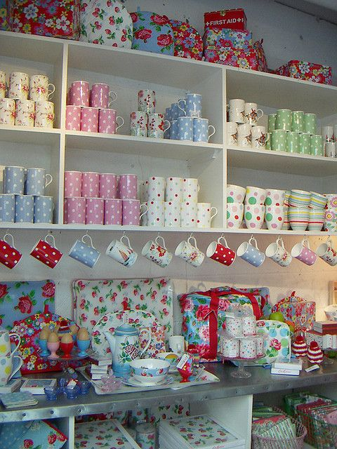 Cath Kidston shop - oh how I would love some of those mugs and teapots!