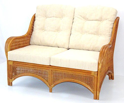 Lounge Loveseat Sofa ECO Natural Handmade Rattan Wicker with Cream Cushions Color Cognac -- Want additional info? Click on the image.
