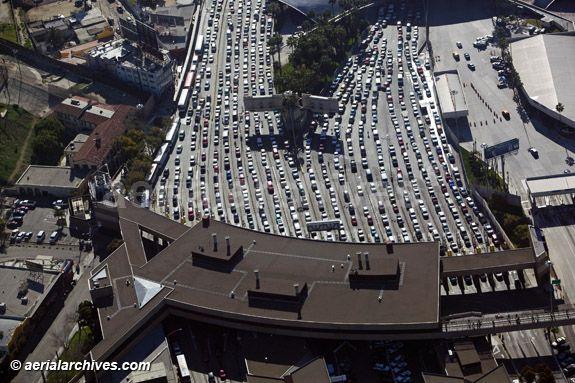 © aerialarchives.com aerial San Ysidro, San Diego, Tijuana border crossing at the Mexican American border