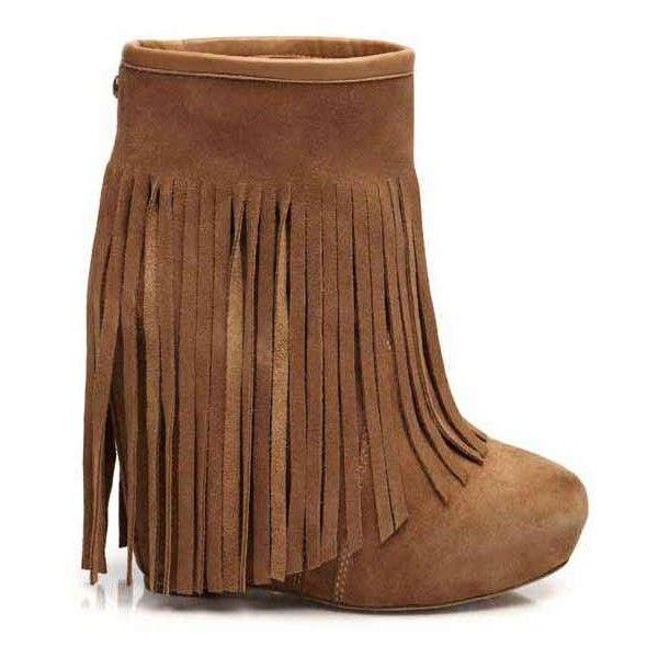 Koolaburra Veleta Wedge Heel Fringe Boot in Chestnut ❤ liked on Polyvore