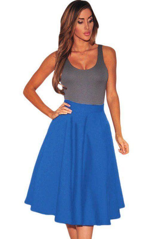 Jupe Patineuse Mi Longue Taille Haute Bleu Royal #jupepatineuse #jupetaillehaute #jupemilongue – Modebuy.com