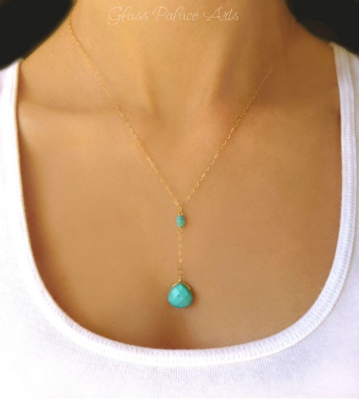 Turquoise Pendant Necklace - Turquoise Necklace Y Drop - In Sterling Silver or Gold