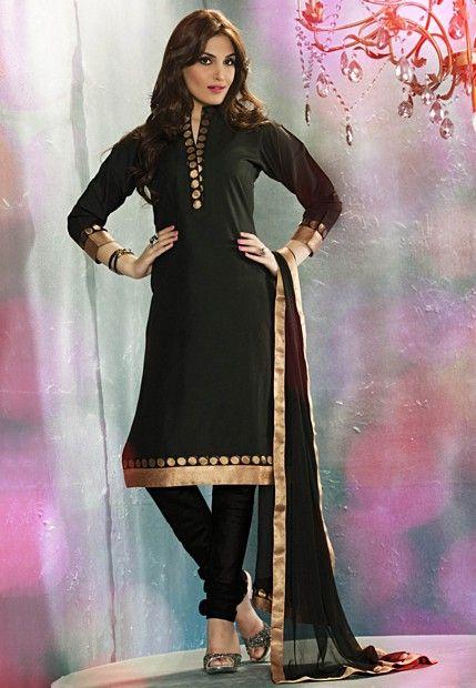 Elegant Black Churidar Suit