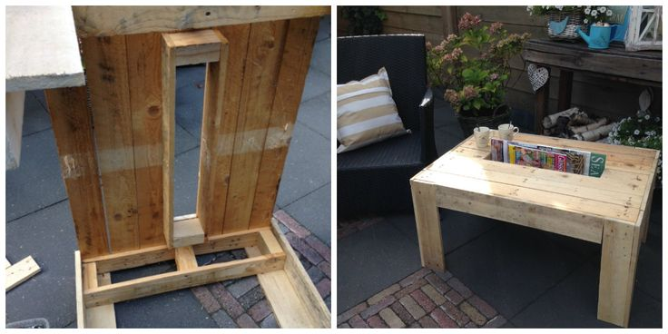 lounge table with magazine rack made from a pallet and pallet timber leftovers.