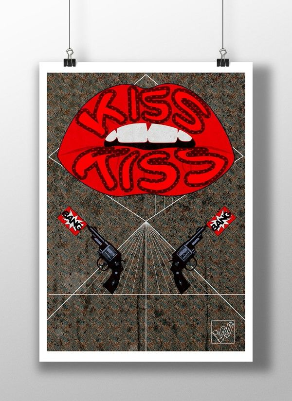 Illustration poster #typography https://www.behance.net/gallery/16834809/Kiss-kiss-Bang-bang