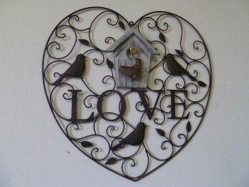 Clayre & Eef welkomstbord Home Love bird