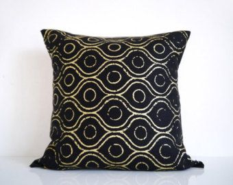 couch pillows ivory, gold and black | Black pillow - metallic gold print on black linen cushion cover ...