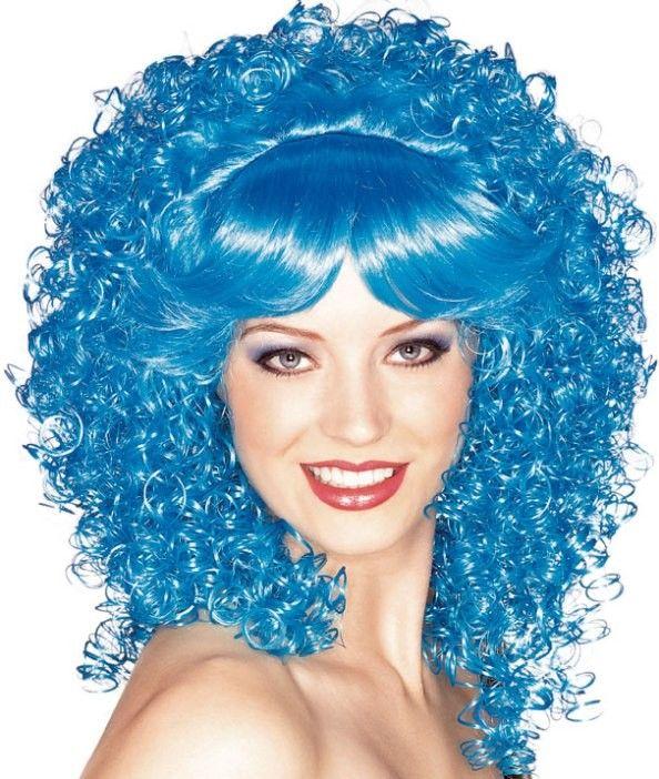Perruque bleue bouclée