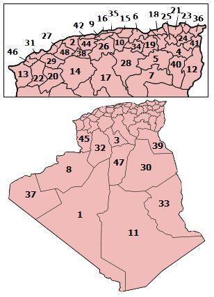 Algeria provinces numbered2.png