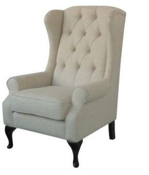 Beautiful Natural Linen Upholstered Wing Arm Chair.