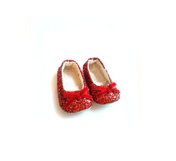 Ruby slippers red glitter sparkle bow Baby Toddler Girl's soft sole dorothy wizard of oz mary janes ballet flats shoes party