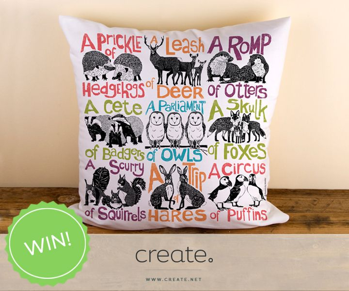 """#WIN this amazing """"Collective Noun"""" cushion from the wonderful Create shop, Perkins & Morley. Follow the link to enter! #FreebieFriday"""